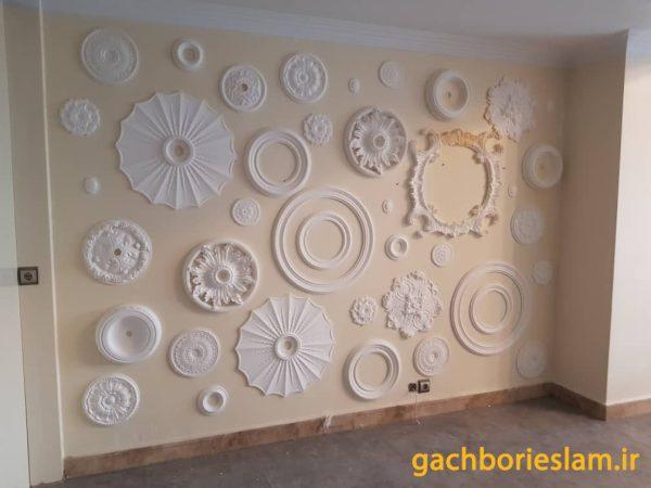طرح اجرا شده از گل سقفی برای قاب دیوار